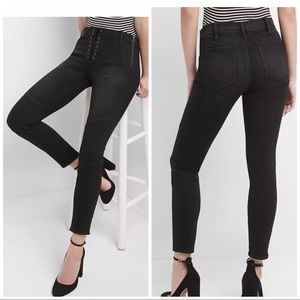 🍕 GAP True Skinny Black Jeans Lace Front Detail